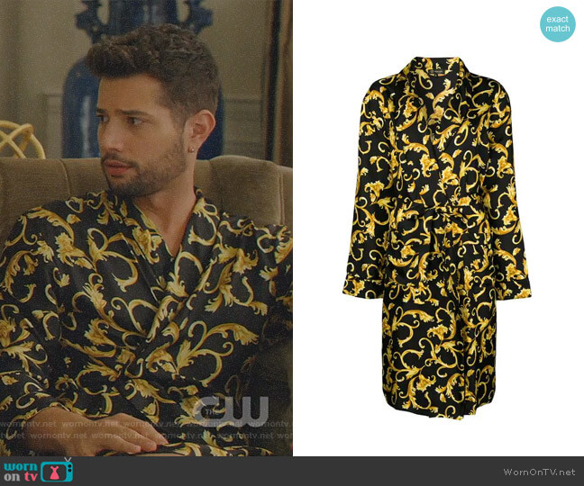Printed Robe by Versace worn by Sam Flores (Rafael de la Fuente) on Dynasty