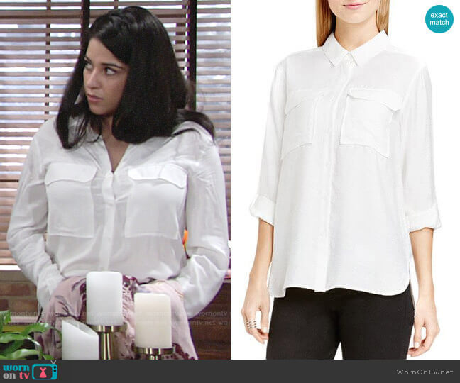 Vince Camuto Roll Sleeve Utility Shirt worn by Mia Rosales (Noemi Gonzalez) on The Young & the Restless
