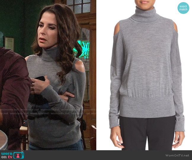 Vince Cold Shoulder Merino Wool Turtleneck worn by Sam McCall (Kelly Monaco) on General Hospital
