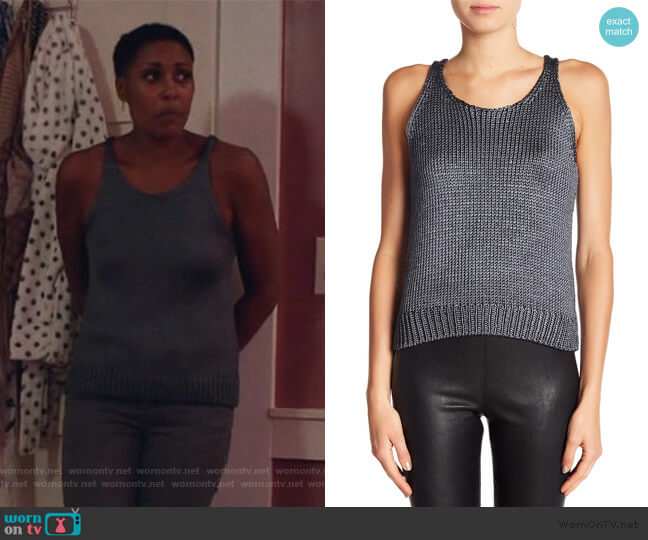 Crop Sleeveless Silk Knit Tank by Vince worn by Lynn Stewart (Christine Adams) on Black Lightning