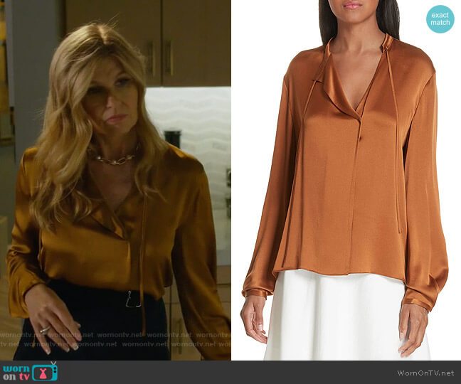 Tie Neck Silk Popover Blouse by Vince worn by Debra Newell (Connie Britton) on Dirty John