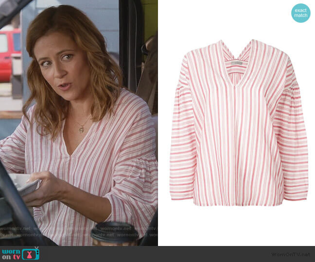 Striped Blouse by Vince worn by Lena (Jenna Fischer) on Splitting Up Together