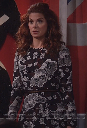 Grace's black floral print midi dress on Will and Grace