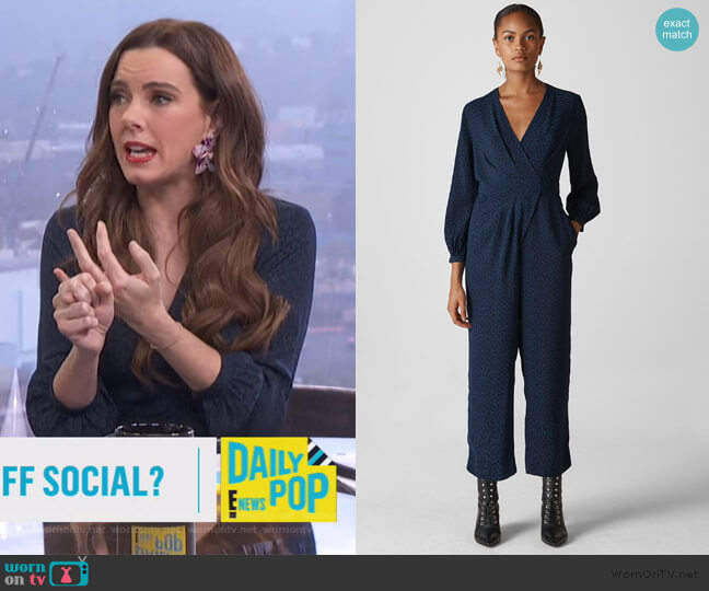 Animal Jacquard Wrap Jumpsuit by Whistles worn by Melanie Bromley  on E! News