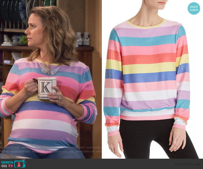 Castaway Striped Sweatshirt by Wildfox worn by Kimmy Gibbler (Andrea Barber) on Fuller House