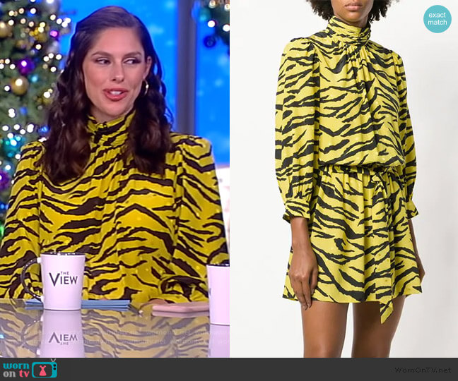 Fashion Show Tiger Print Dress by Zadig & Voltaire worn by Abby Huntsman  on The View