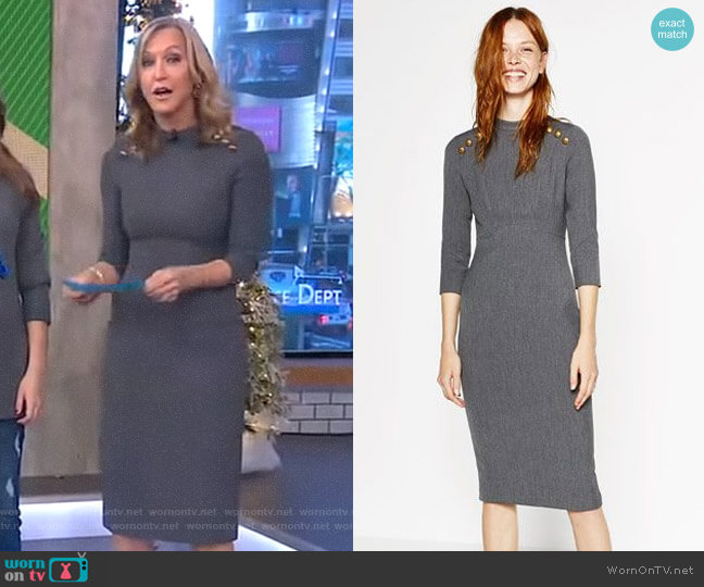 Buttoned Tube Dress by Zara worn by Lara Spencer (Lara Spencer) on Good Morning America