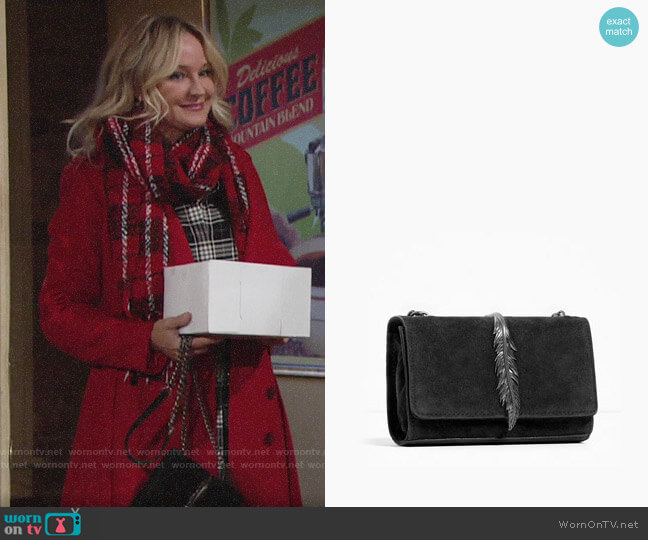 Zara Leather Cross Body Bag with Metal Detail  worn by Sharon Collins (Sharon Case) on The Young & the Restless