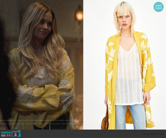 Embroidered Kimono by Zara worn by Karolina Dean (Virginia Gardner) on Marvels Runaways