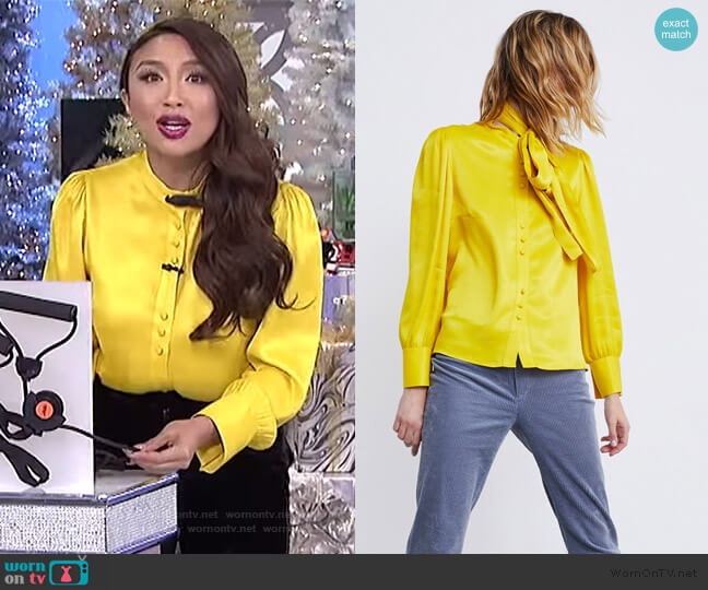 Tied Satin Blouse by Zara worn by Jeannie Mai  on The Real
