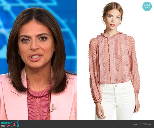 Unbridled Spliced Blouse by Zimmermann worn by Bianna Golodryga (Bianna Golodryga) on CBS This Morning