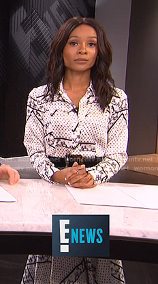 Zuri's white printed satin shirtdress on E! News