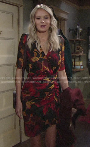 Abby's floral ruched dress on The Young and the Restless
