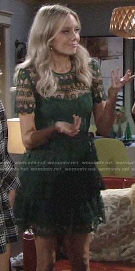 Abby's green lace dress on The Young and the Restless