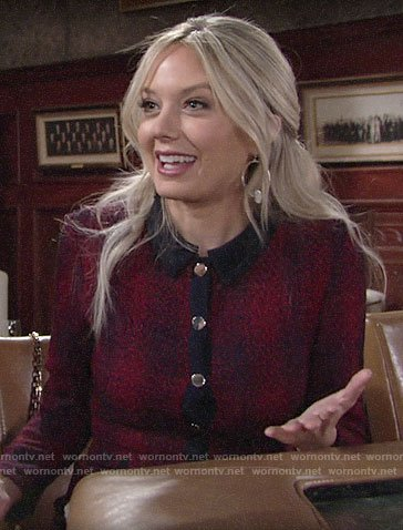 Abby's red button front dress on The Young and the Restless