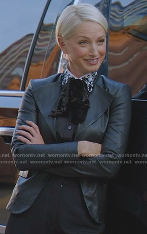 Ada's black embellished collar blouse and leather jacket on Dynasty