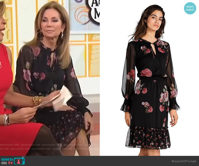 loral Print Poet Sleeve Keyhole Chiffon Dress by Adrianna Papell worn by Kathie Lee Gifford  on Today