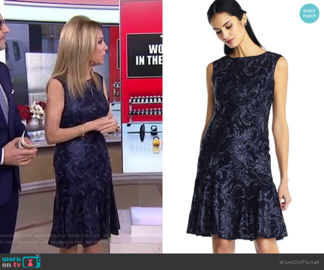 Embroidered Sequin Floral Dress with Drop Waist by Adrianna Papell worn by Kathie Lee Gifford  on Today