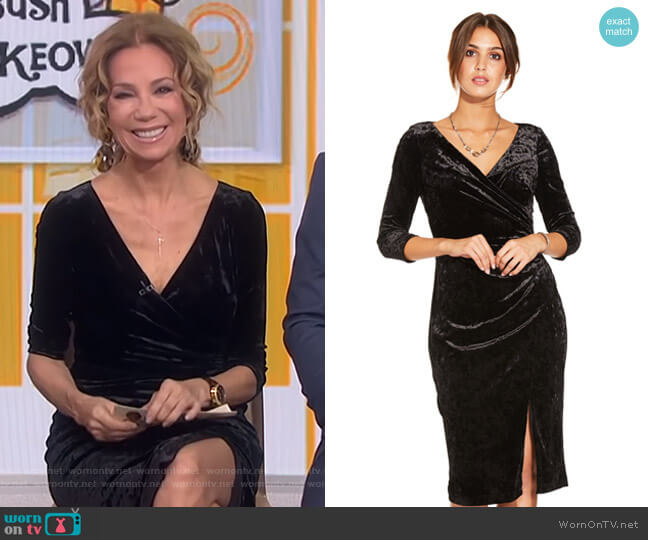 Velvet Faux Wrap Dress with Asymmetrical Slit by Adrianna Papell worn by Kathie Lee Gifford  on Today