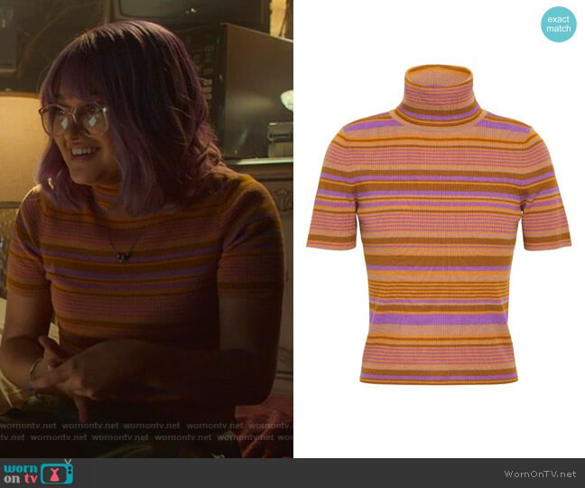 Striped Ribbed Turtleneck Top by A.L.C. worn by Ariela Barer on Marvels Runaways