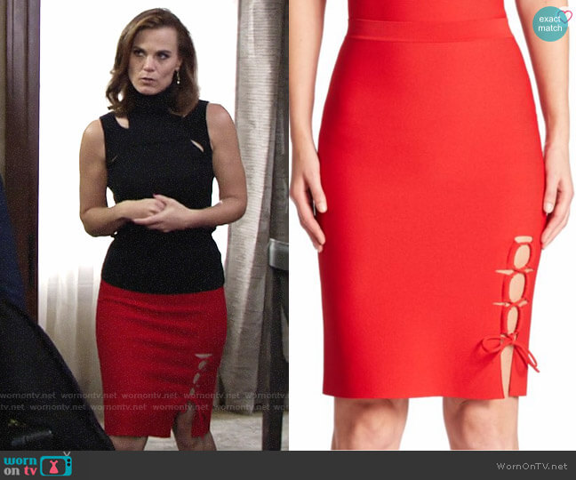 Alexander WAng Lace Up Slit Pencil Skirt worn by Phyllis Newman (Gina Tognoni) on The Young & the Restless