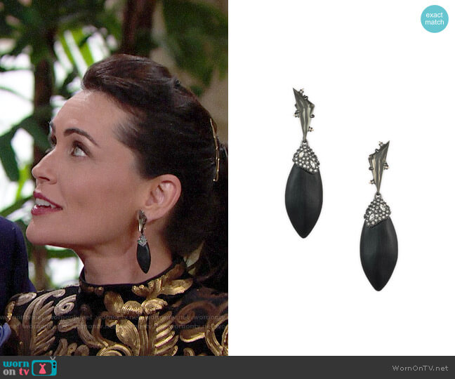 Alexis Bittar Crystal Cluster Ovoid Drop Earrings worn by Quinn Fuller (Rena Sofer) on The Bold & the Beautiful
