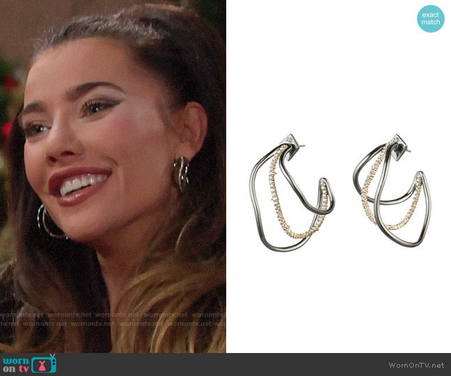 Alexis Bittar Deconstructed Triple Hoop Earrings worn by Steffy Forrester (Jacqueline MacInnes Wood) on The Bold & the Beautiful