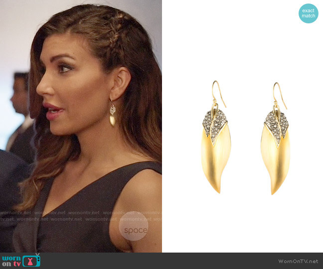 Alexis Bittar Crystal Encrusted Capped Feather Earring worn by Dinah Drake (Juliana Harkavy) on Arrow