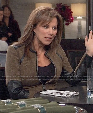 Alexis's khaki green jacket with black leather panels on General Hospital