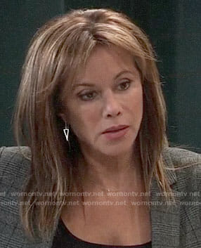 Alexis's grey plaid blazer and triangle earrings on General Hospital