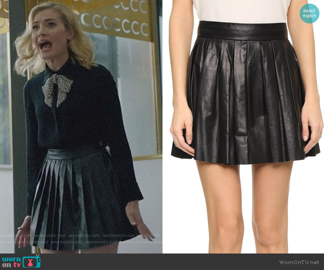 Pleated Leather Mini Skirt by Alice + Olivia worn by The Frost Sisters (Skyler Samuels) on The Gifted