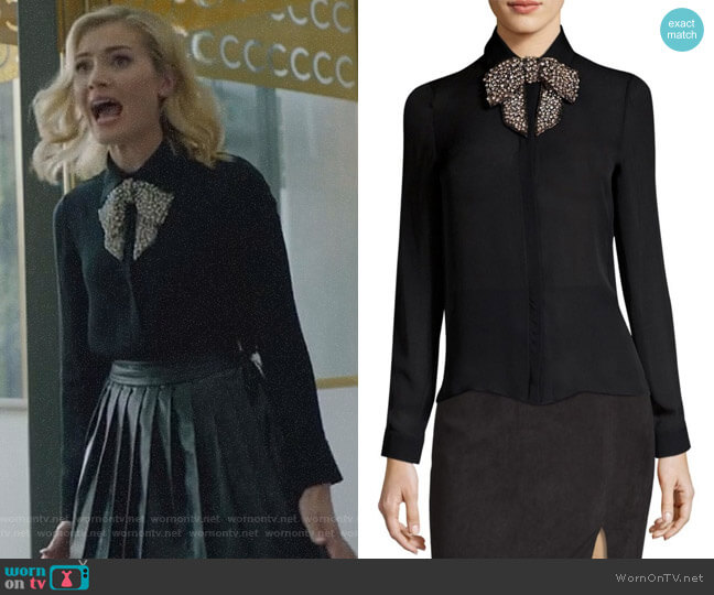 Willa Blouse by Alice + Olivia worn by The Frost Sisters (Skyler Samuels) on The Gifted