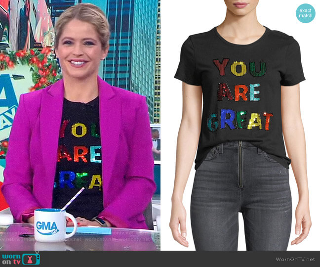 Rylyn Tee by Alice + Olivia worn by Sara Haines  on Good Morning America