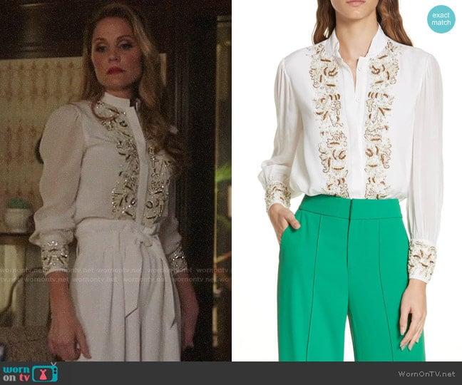 Alice + Olivia Zita Embellished Tuxedo Shirt worn by Virginia Williams on Charmed
