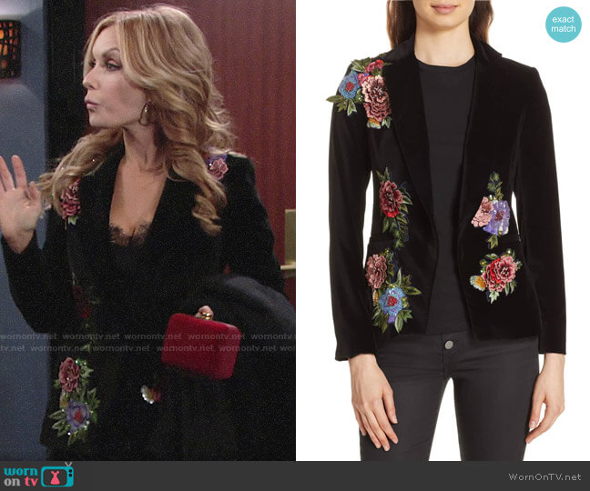 Alice + Olivia Hix Embellished Velvet Blazer worn by Lauren Fenmore (Tracey Bregman) on The Young & the Restless