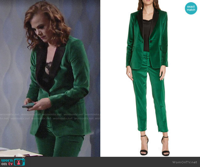 Alice + Olivia Macey Velvet Blazer and Stacey Velvet Pants worn by Phyllis Newman (Gina Tognoni) on The Young & the Restless