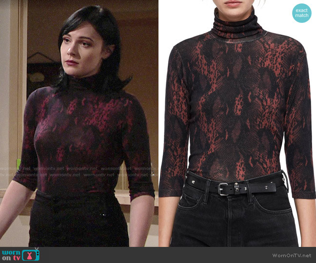 All Saints Suki Top worn by Cait Fairbanks on The Young & the Restless