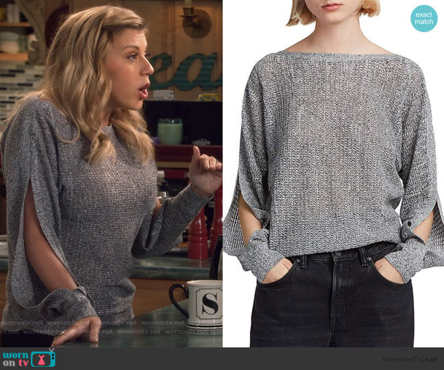 Elle Slit-Sleeve Sweater by All Saints worn by Stephanie Tanner (Jodie Sweetin) on Fuller House