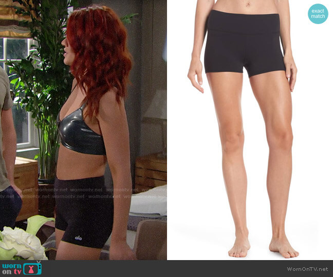 Alo Airbrush Shorts worn by Sally Spectra (Courtney Hope) on The Bold & the Beautiful