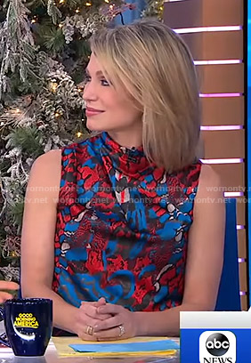 Amy's printed sleeveless top on Good Morning America