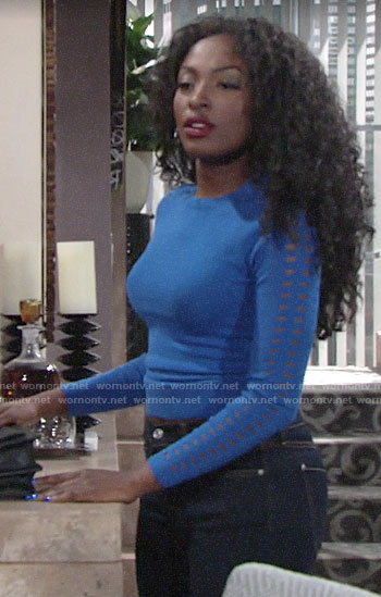 Ana's blue eyelet sleeve sweater on The Young and the Restless