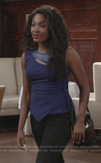 Ana's blue leather panel top on The Young and the Restless