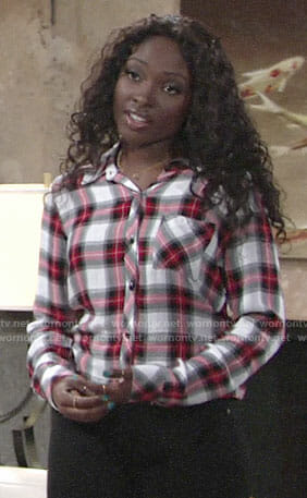 Ana's red and white plaid shirt on The Young and the Restless