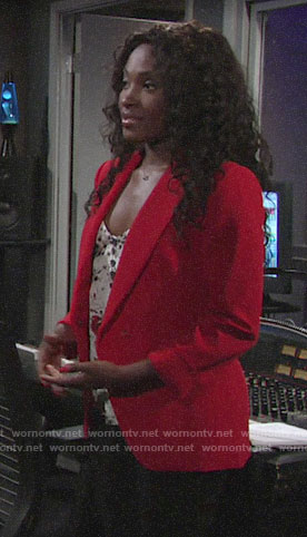 Ana's floral top and red blazer on The Young and the Restless