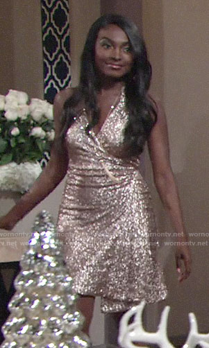 Ana's sequin wrap dress on NYE on The Young and the Restless