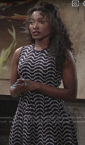 Ana's wavy stripe dress on The Young and the Restless