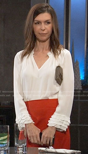 Anna's white ruffled cuff blouse on General Hospital