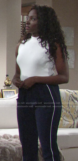 Ana's white ribbed top and side stripe pants on The Young and the Restless