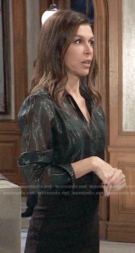 312cd3516a72d WornOnTV  Anna s green metallic blouse on General Hospital