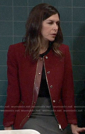 Anna's red snap button jacket on General Hospital